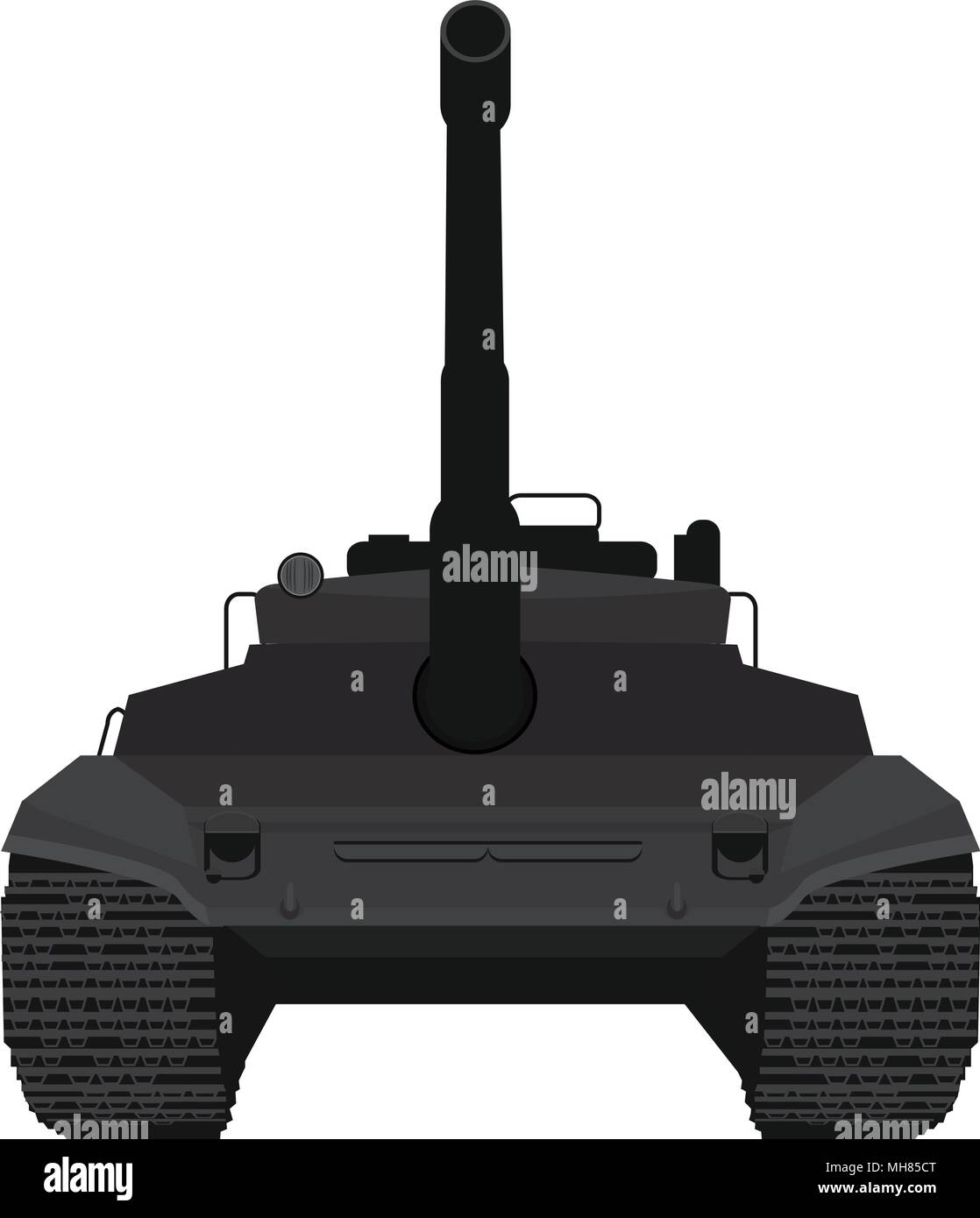 e08eef80c1a4b Black Big military tank silhouette illustration vector with high detailed  and front view point. -