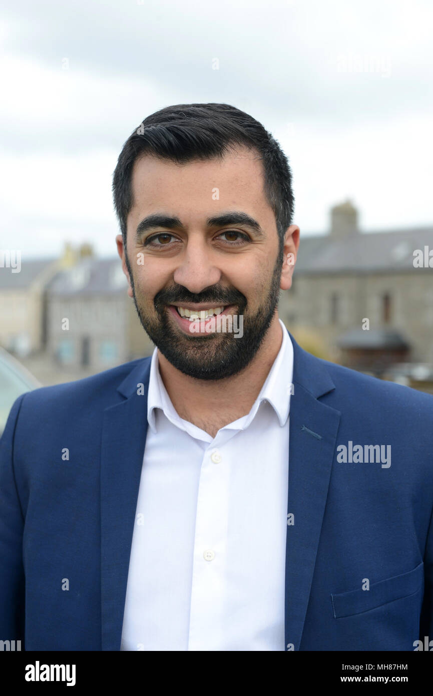 Humza Yousaf Scottish transport secretary taking questions from the press with regard to Northern Isle ferry service to the Shetland Isles - Stock Image