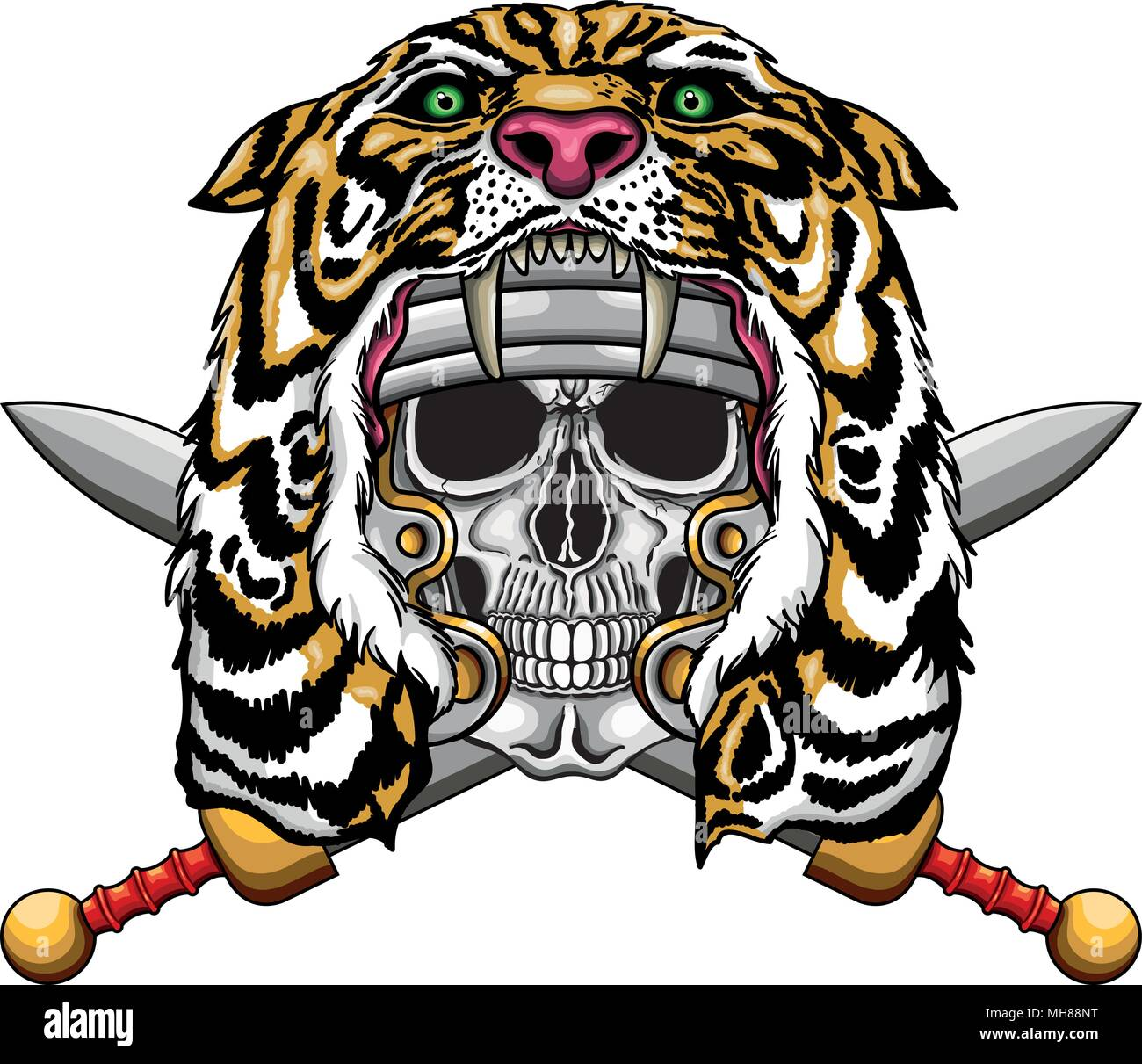 Vector illustration of roman empire soldier with lion hood. - Stock Image