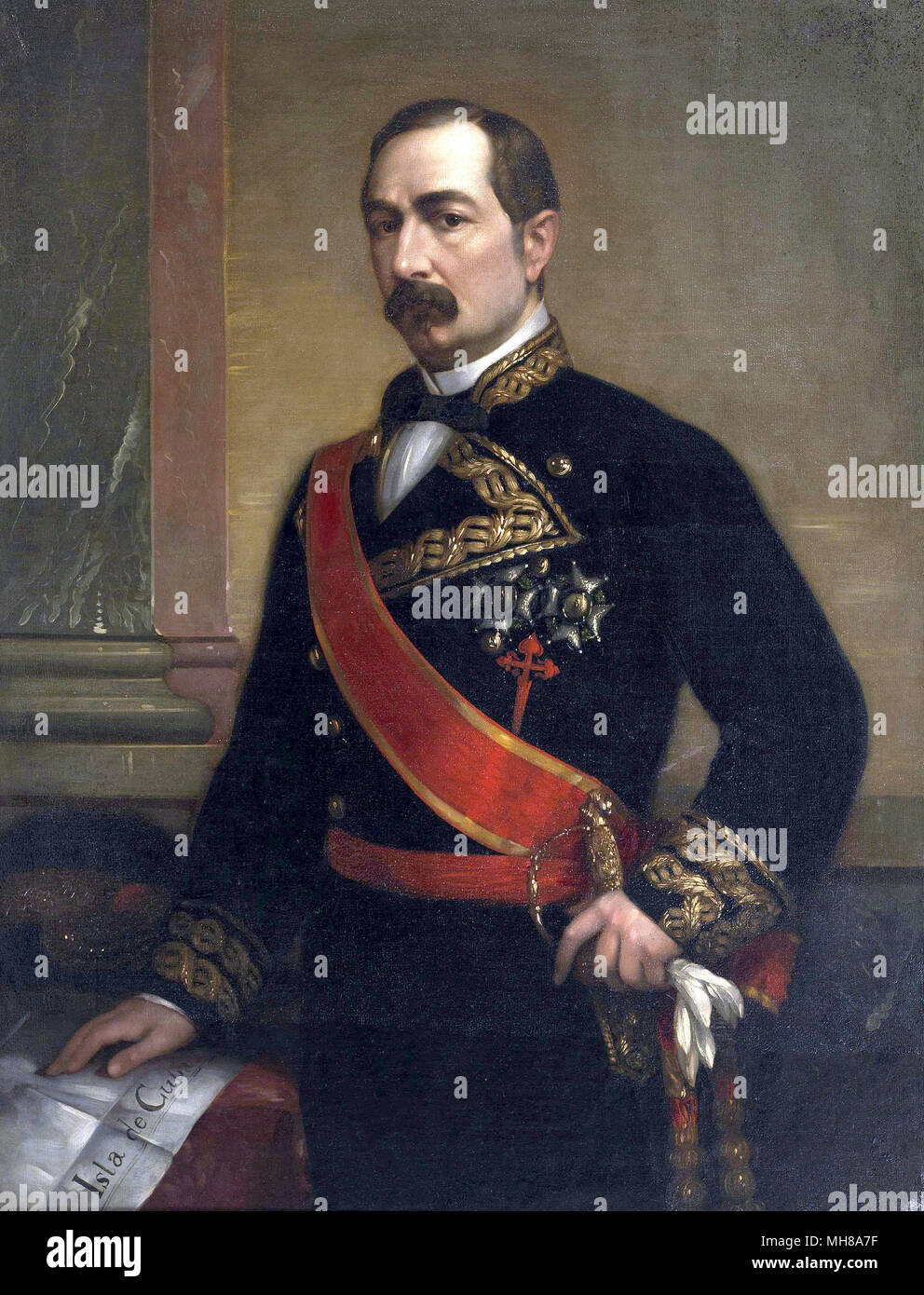 José Gutiérrez De la Concha, 1st Marquis of Havana, 1st Viscount of Cuba, Grandee of Spain (1809 – 1895) Spanish noble, general and politician, who served once as the Prime Minister of Spain. - Stock Image