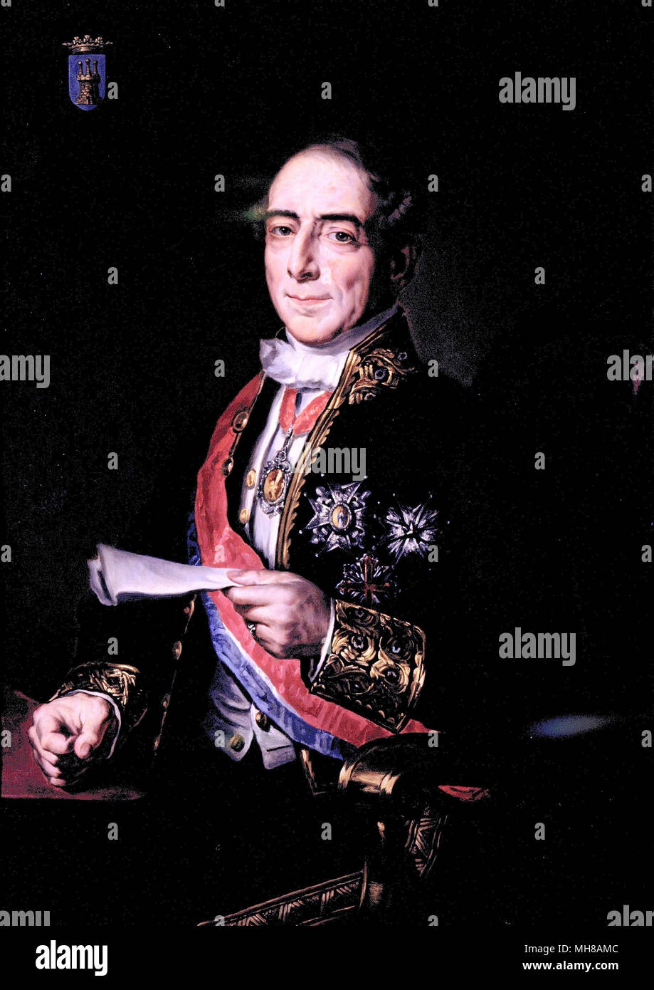 Don Antonio González y González, 1st Marquis of Valdeterrazo (1792 – 1876) Spanish politician, who served two times as Prime Minister of Spain - Stock Image
