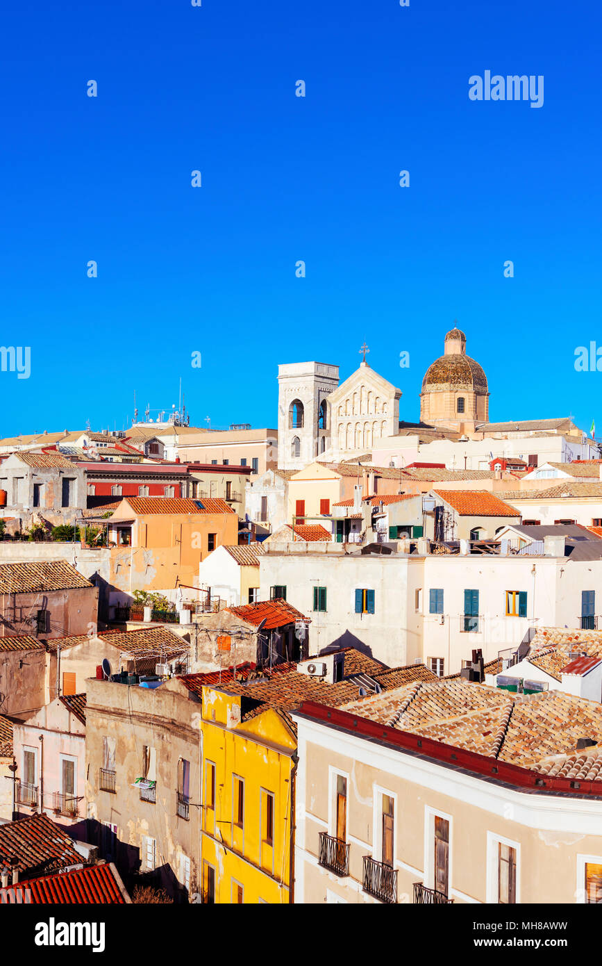 an aerial view of the old town of Cagliari, in Sardinia, Italy, highlighting the bell tower and the top of the facade of the Saint Marias Cathedral in - Stock Image