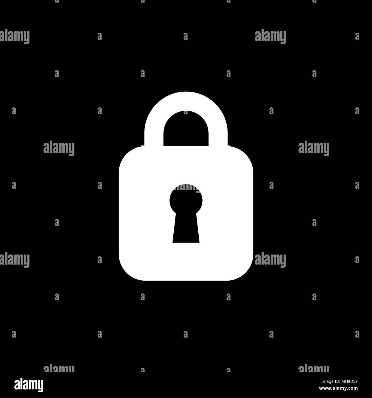Lock unlock icon ui simple style flat illustration. - Stock Image