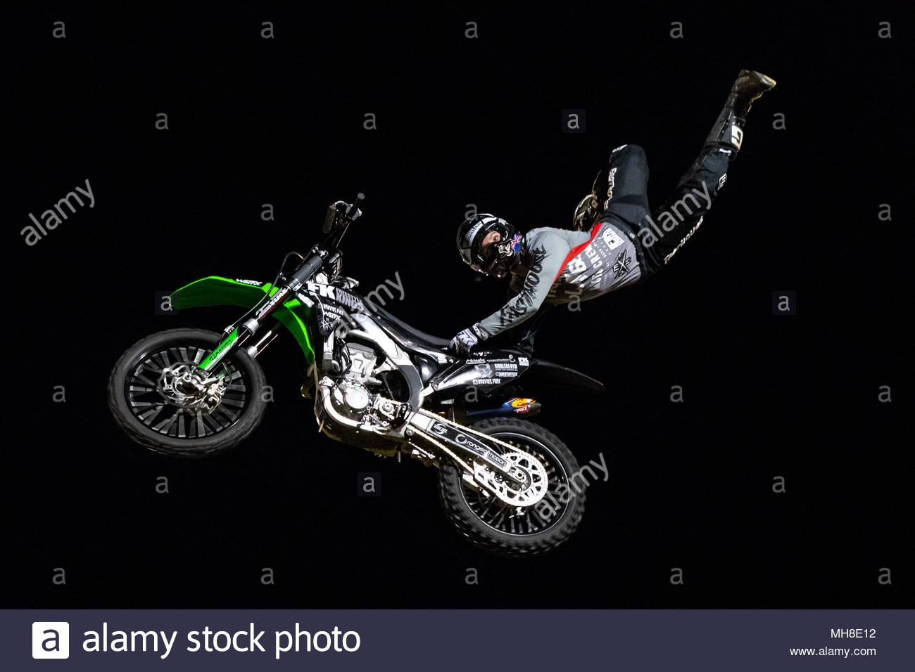 Nitro Circus Freestyle Motocross Demo Show | Sir Richard Moore Oval | Kalgoorlie-Boulder, Western Australia | Saturday 28 April 2018 - Stock Image