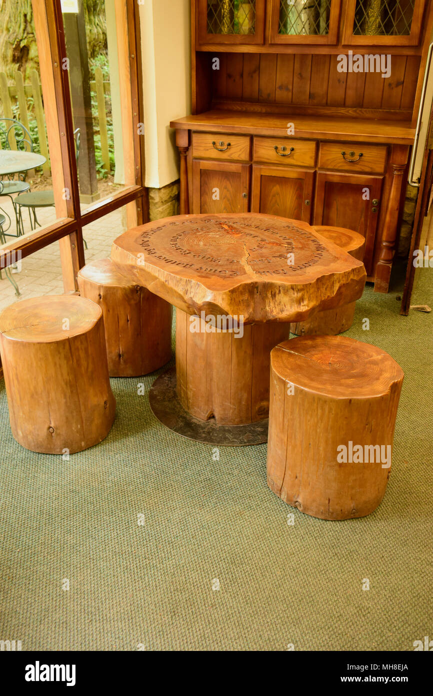 Wooden Furniture Made From Oak Timber Here At The Sherwood Forest National  Park Centre, Nottinghamshire, England