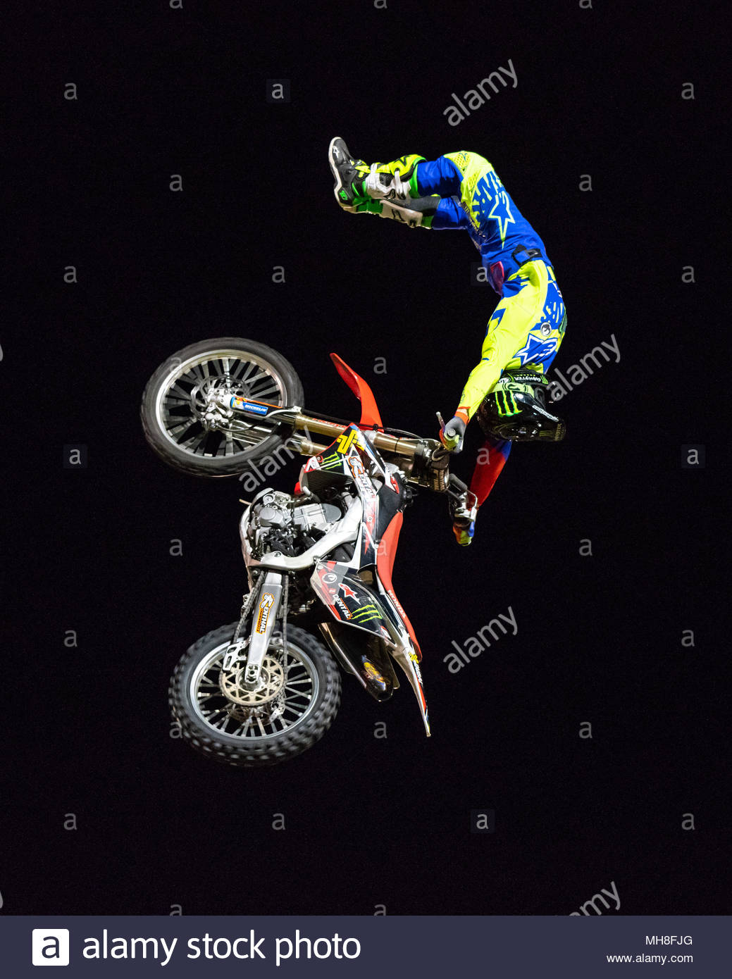 Nitro Circus Freestyle Motocross Demo Show | Sir Richard Moore Oval | Kalgoorlie-Boulder, Western Australia | Saturday 28 April 2018 - Stock Image