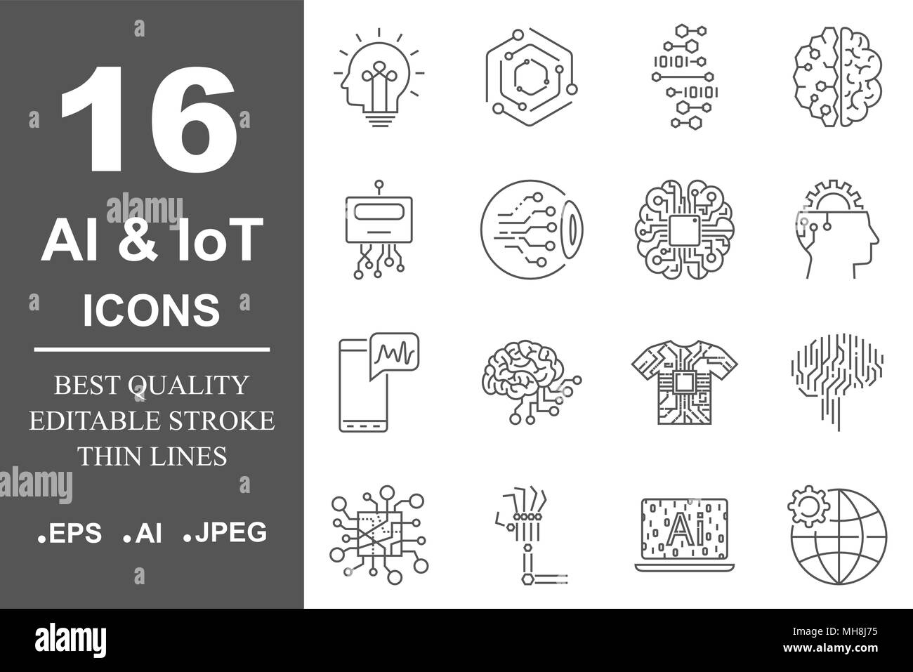 Simple set of artificial intelligence related line icons contains such icons as droid, eye, chip, brain. Editable Stroke. - Stock Image
