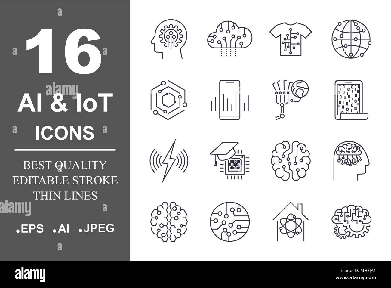 Set of 16 quality icons about AI, IoT,future technology. Editable Stroke. - Stock Image