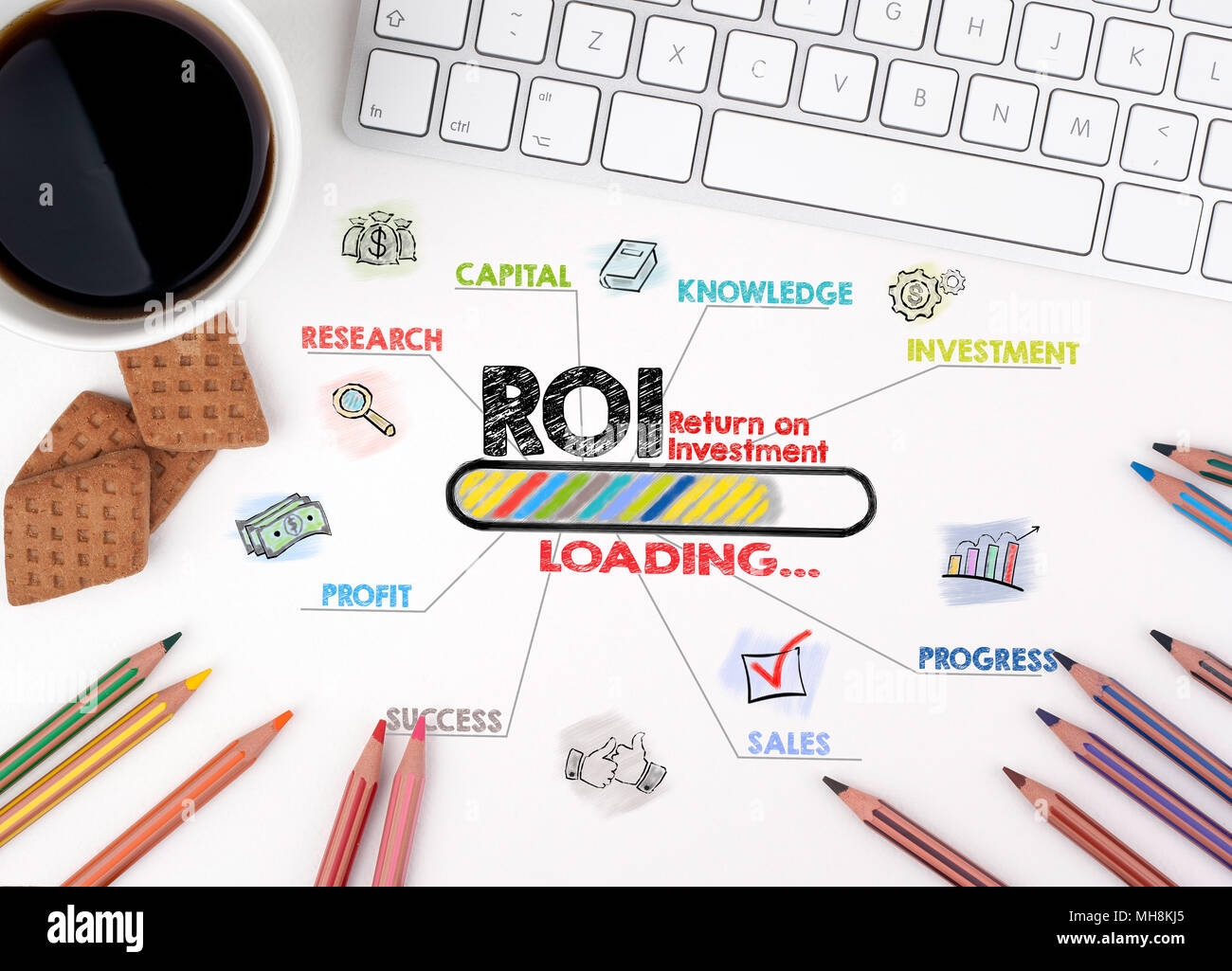 ROI Return on Investment, Business concept - Stock Image