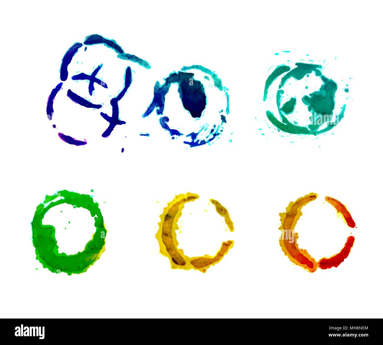 Set of round watercolor stains - Stock Image