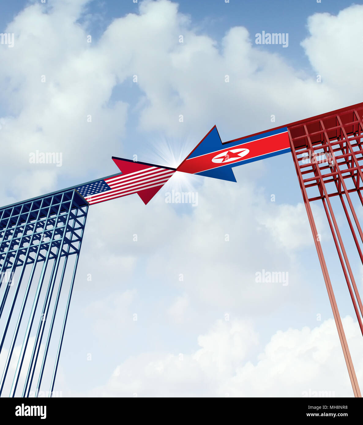 North Korea United States success agreement and diplomacy meeting between pyongyang and washington as an east asian crisis negotiation connection. - Stock Image