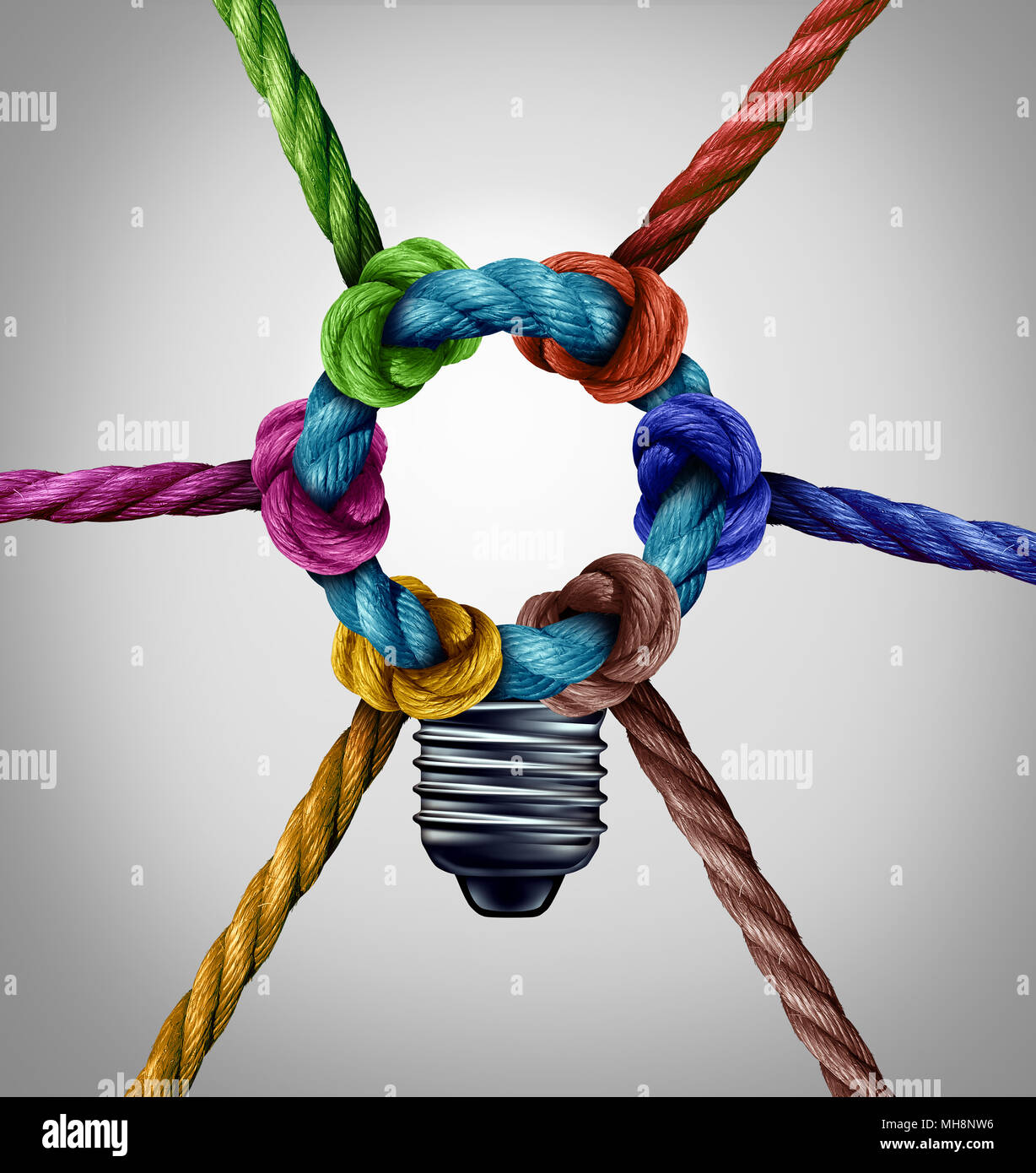 Central creativity concept as a group inspiration connection idea as diverse ropes tied together as a team symbol with 3D illustration elements. - Stock Image