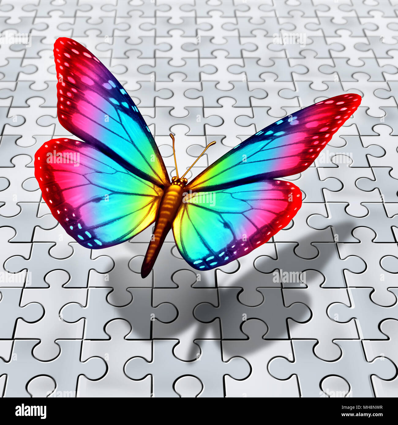 Autism Spectrum Symbol As A Butterfly Flying Over A Puzzle For