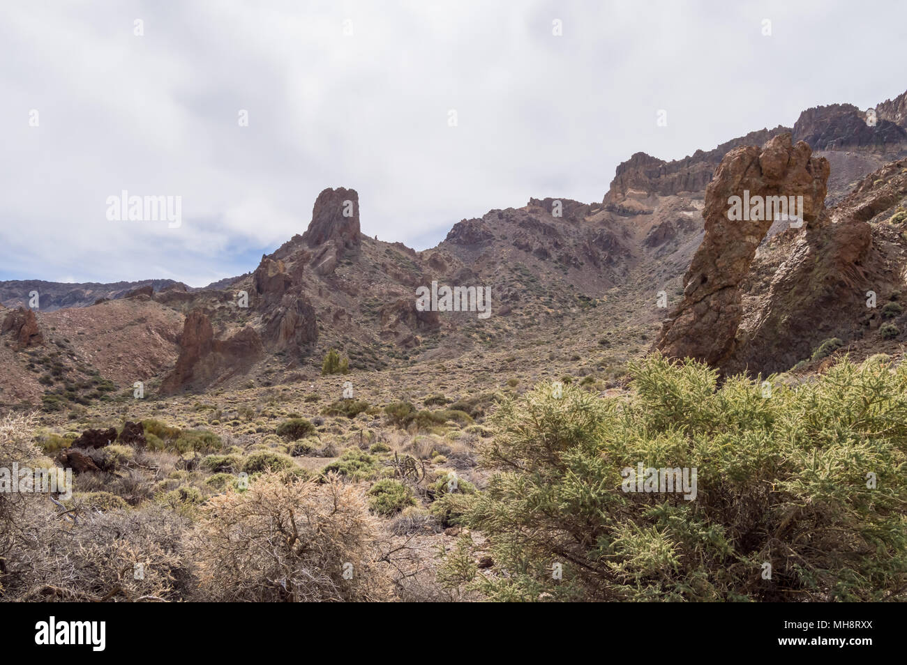 View of the Green Rocks of Los Azulejos in the Teide Park in Tenerife, Spain - Stock Image