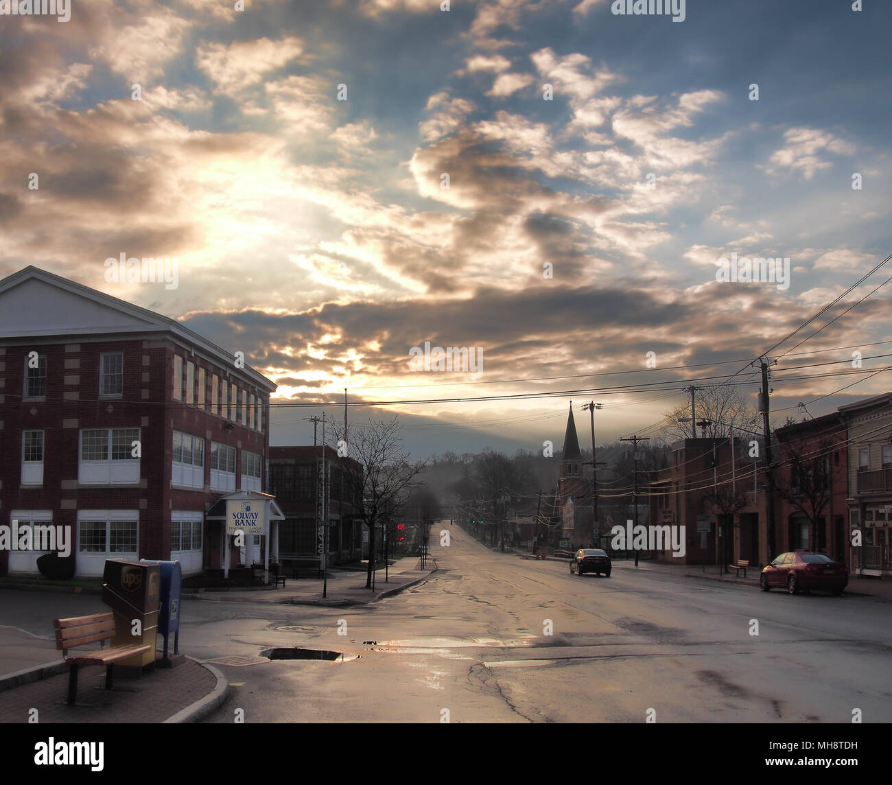 Camillus, New York, USA.  April 28, 2018. Small town of Camillus , NY, in upstate New York , early morning after a rain shower Stock Photo