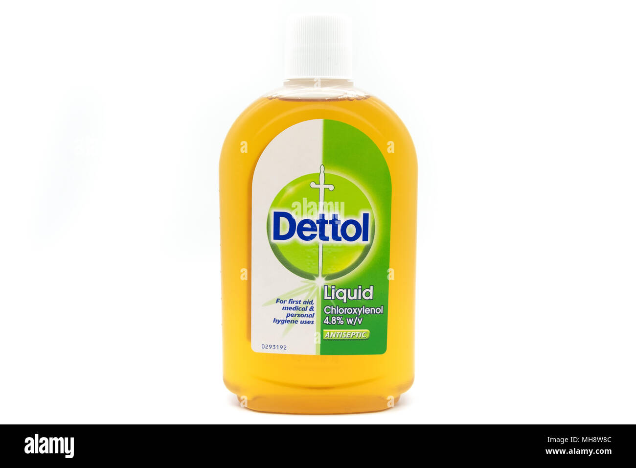 Largs, SCotland, UK - April 25, 2018:                                       A pastic Recyclable Bottle Containing Dettol  in agreement with UK Governm - Stock Image