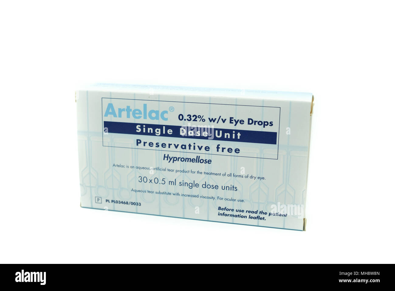 Largs, SCotland, UK - April 25, 2018:                                       Artelac Eye Drops in Recyclable cardboard Box in agreement with UK Governm - Stock Image