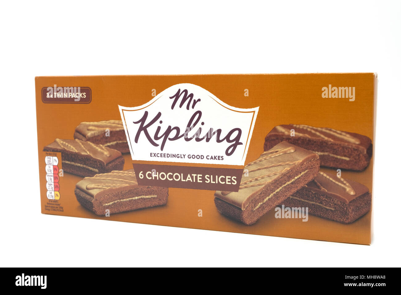 Largs, SCotland, UK - April 25, 2018:                                       Mr Kipling Cake Slices in a Recyclable Cardboard Box in agreement with UK  - Stock Image