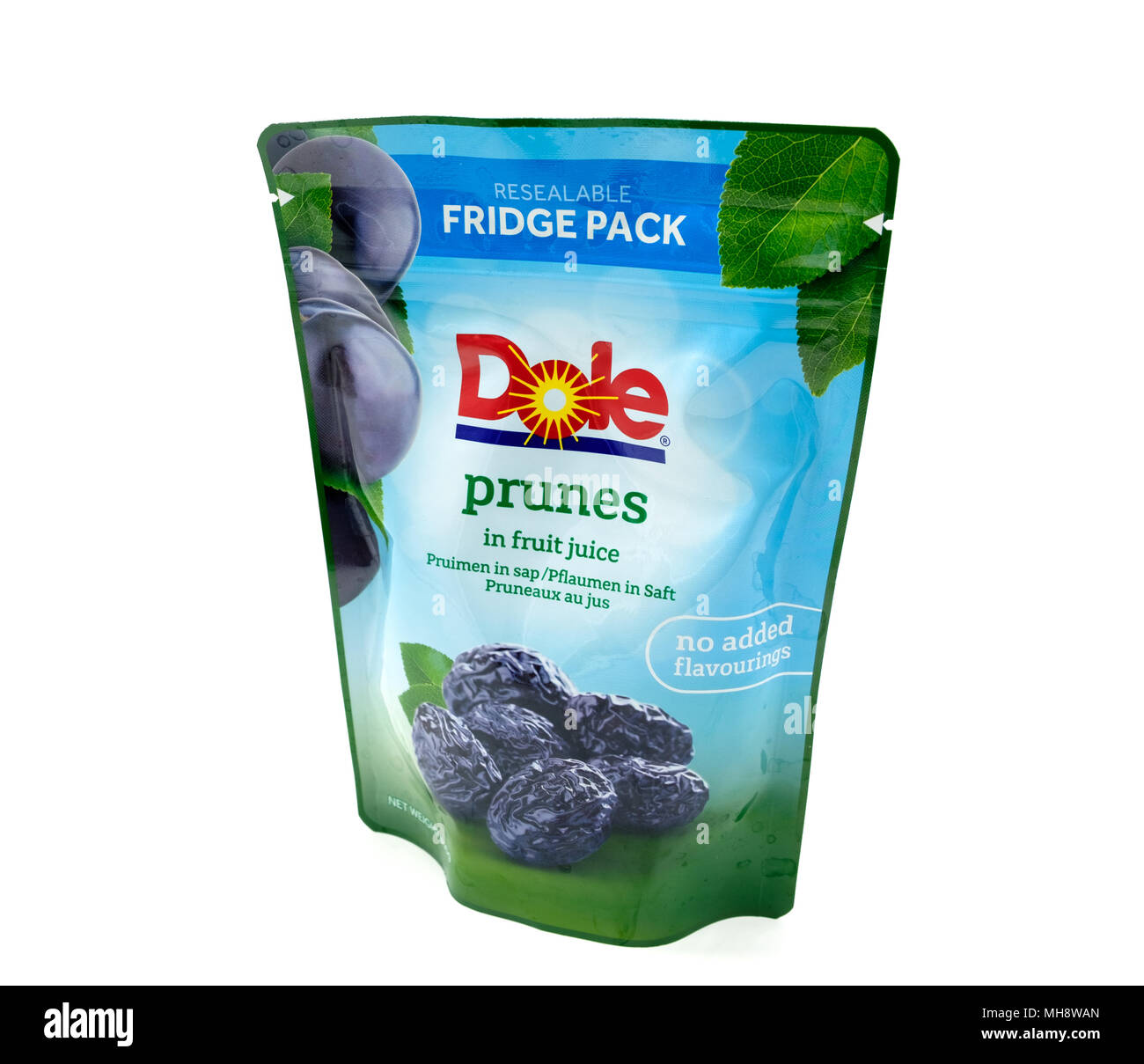 Largs, SCotland, UK - April 25, 2018:                                       A Packet of Dole Prunes in a Recyclable Package in agreement with UK Gover - Stock Image