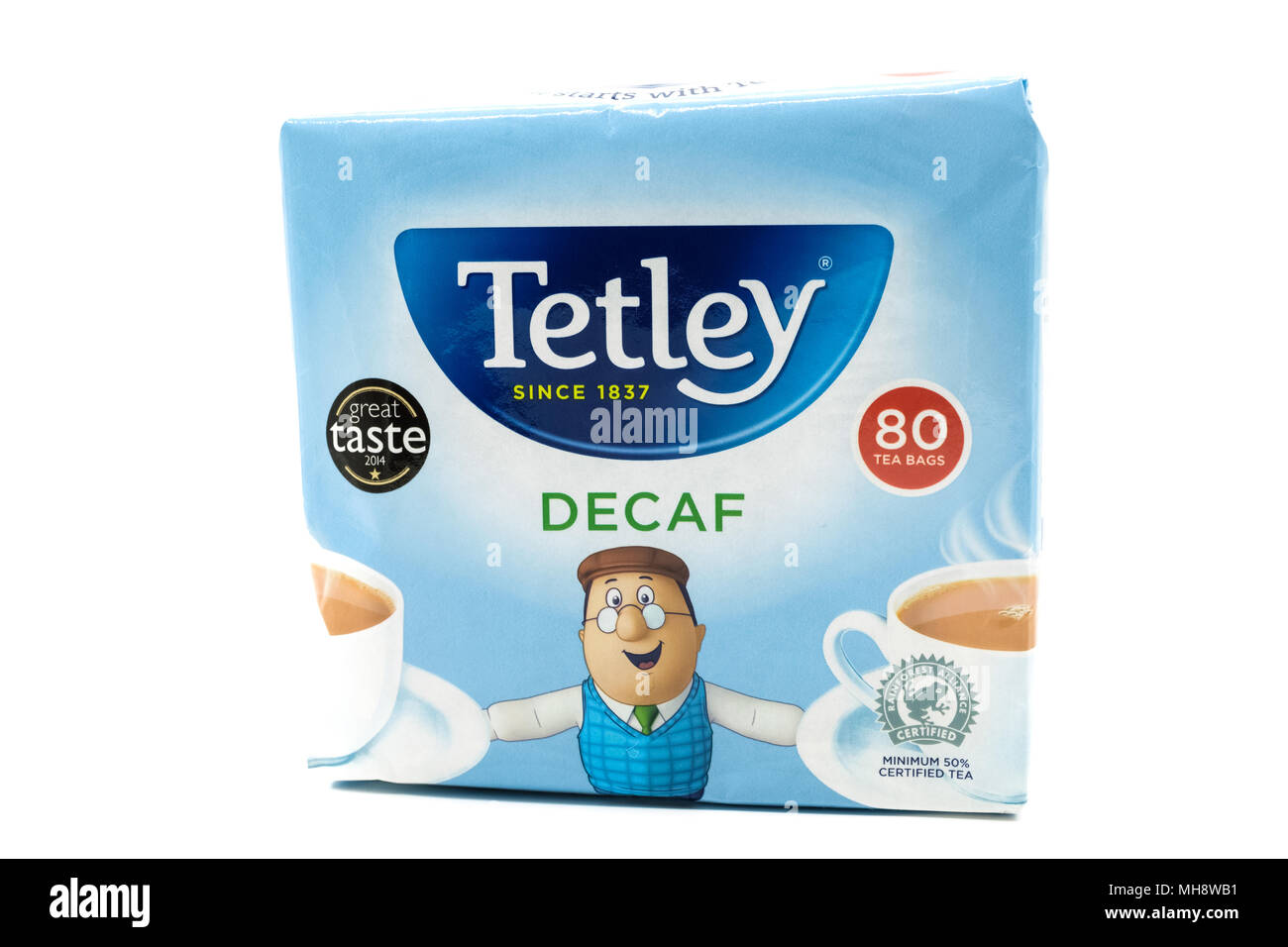 Largs, SCotland, UK - April 25, 2018:                                       Recyclable Paper based  Container or packet of Tetley Decaf Tea in agreeme - Stock Image