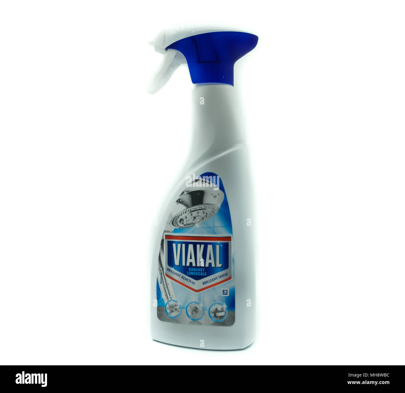 Largs, SCotland, UK - April 25, 2018:                                       A Spray Bottle of Viakal Shower Cleaner in Recyclable Plastic Container in - Stock Image