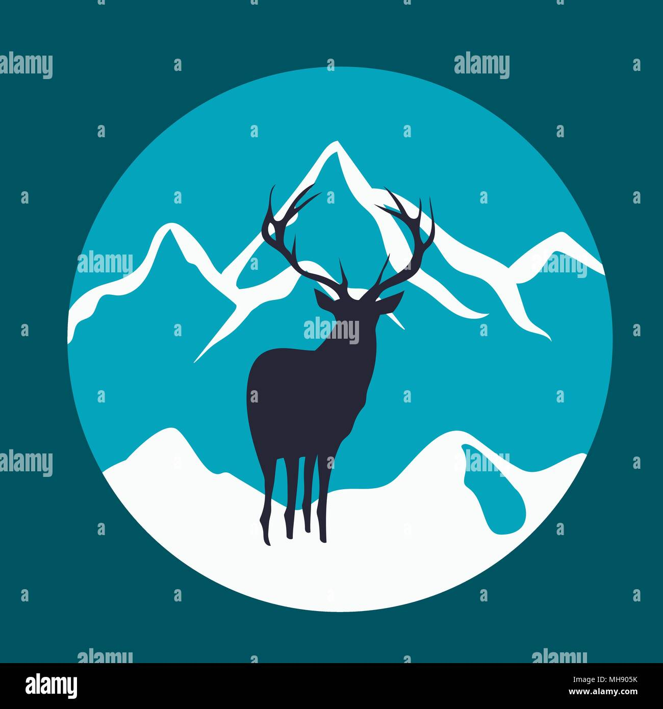 Wild deer in the mountains. Rustic vector emblem. - Stock Vector