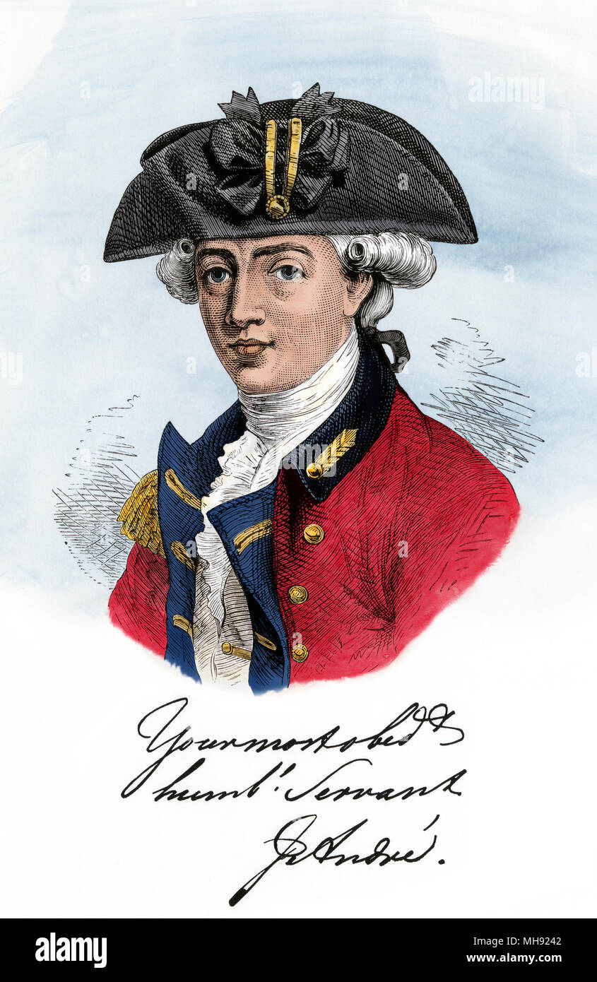 Major John Andre, British officer implicated in the Benedict Arnold spy plot. Digitally colored woodcut - Stock Image