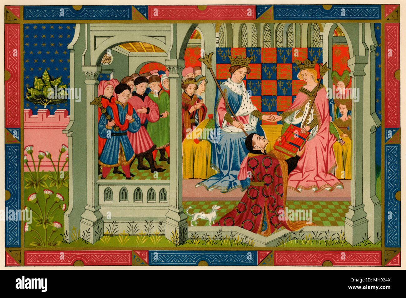 Henry VI and his queen, Margaret of Anjou, receive a book from John Talbot, Earl of Shrewsbury, 1400s. Printed color lithograph Stock Photo