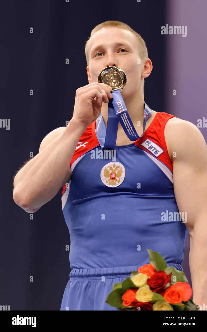 Denis Ablyazin, Russia during aqward ceremony of 5th European Championships in Artistic Gymnastics. Ablyazin won gold in vault Stock Photo