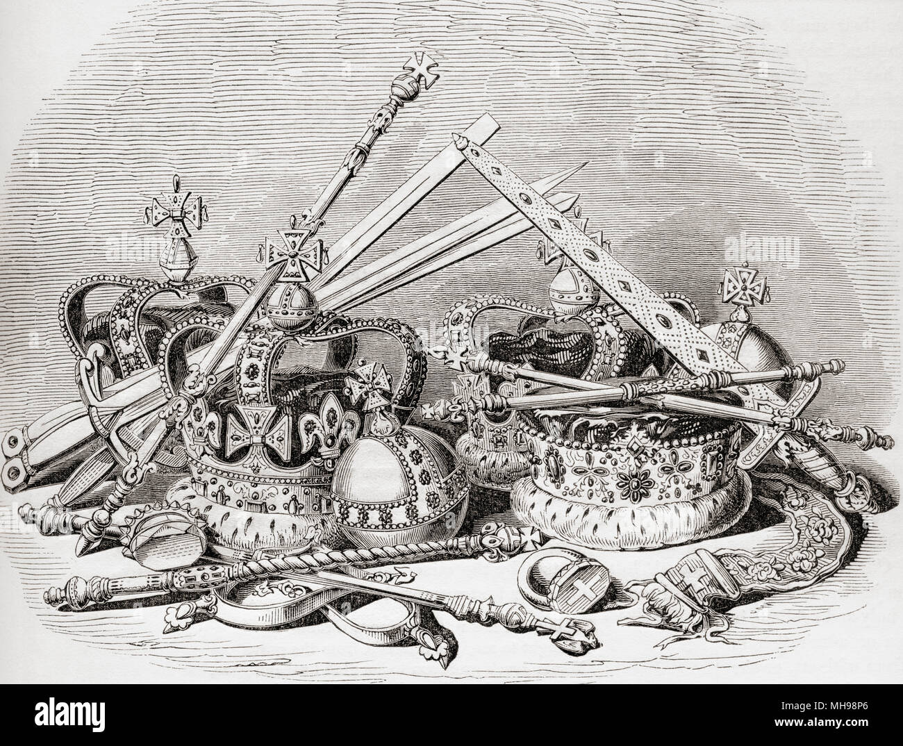 English regalia.  From Old England: A Pictorial Museum, published 1847. - Stock Image