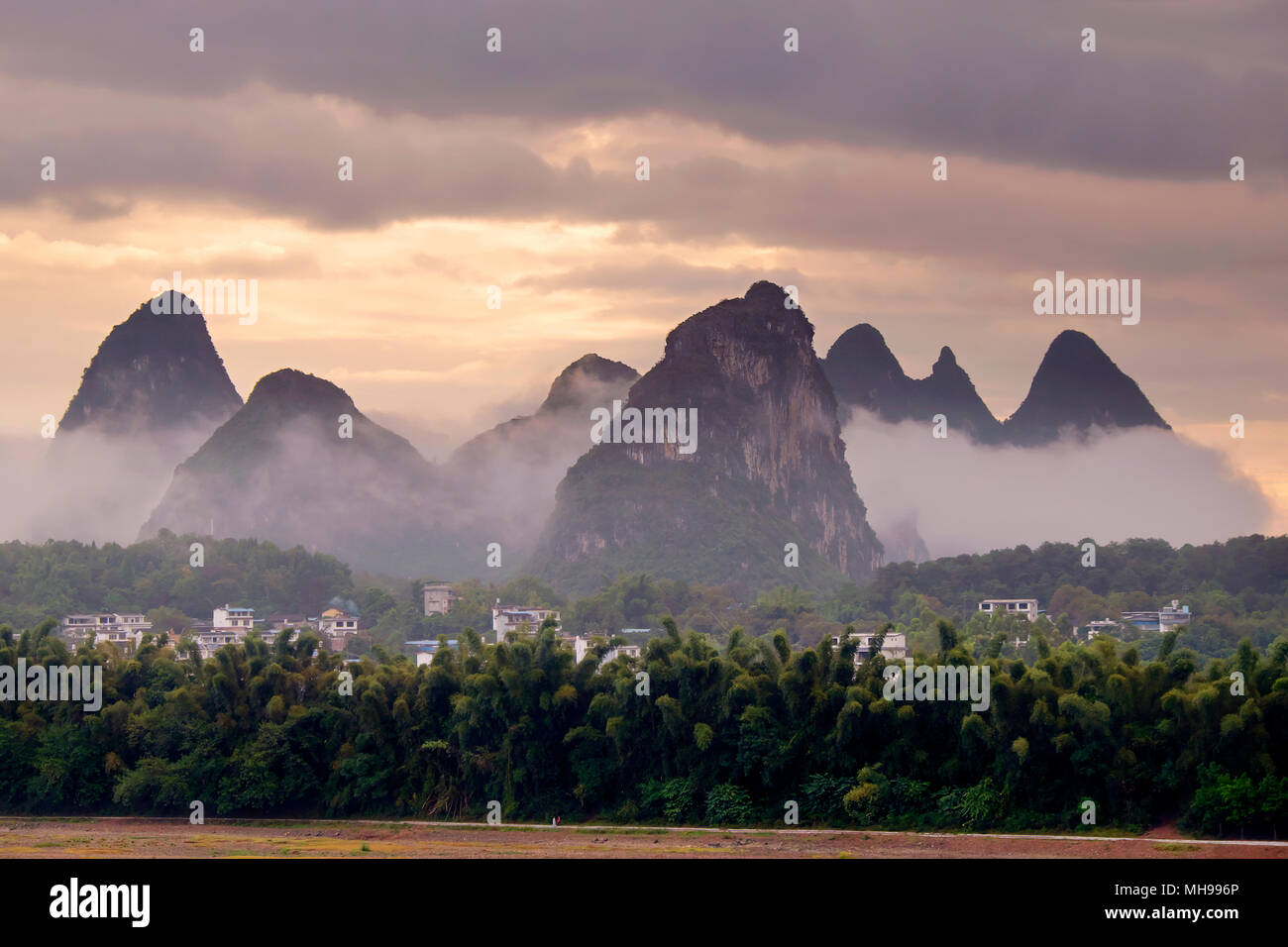 Karst mountains peaks, Yangshuo, Guangxi Province, China Stock Photo