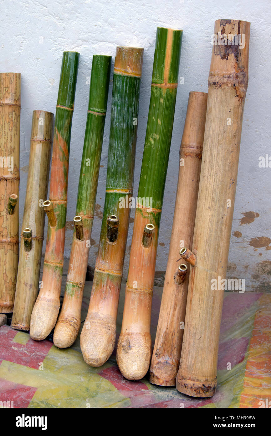 Bamboo waterpipes / water pipes / bongs for sale, Xingping, Guangxi Province, China - Stock Image