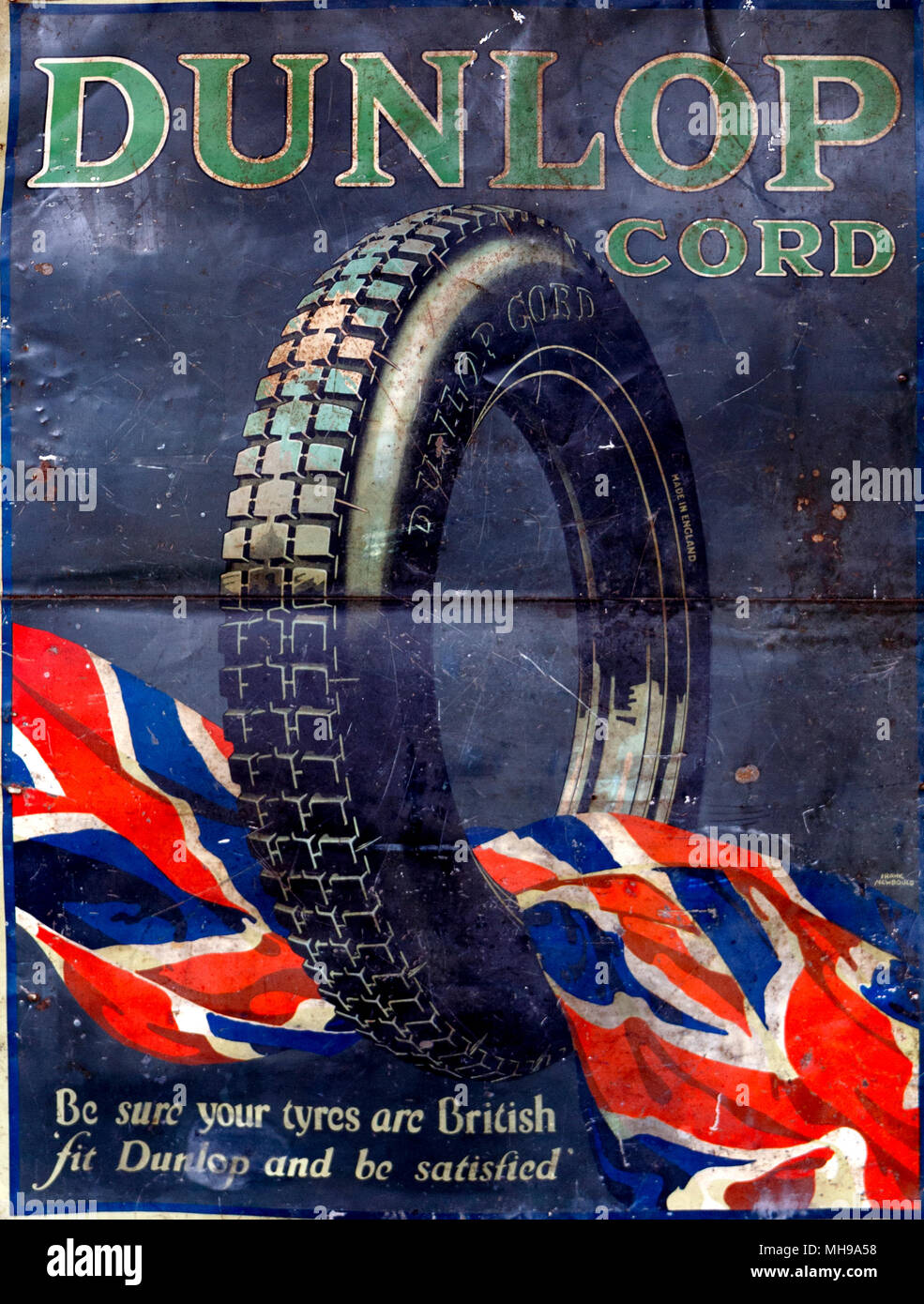 Pre war advertisement for Dunlop tyres - Stock Image