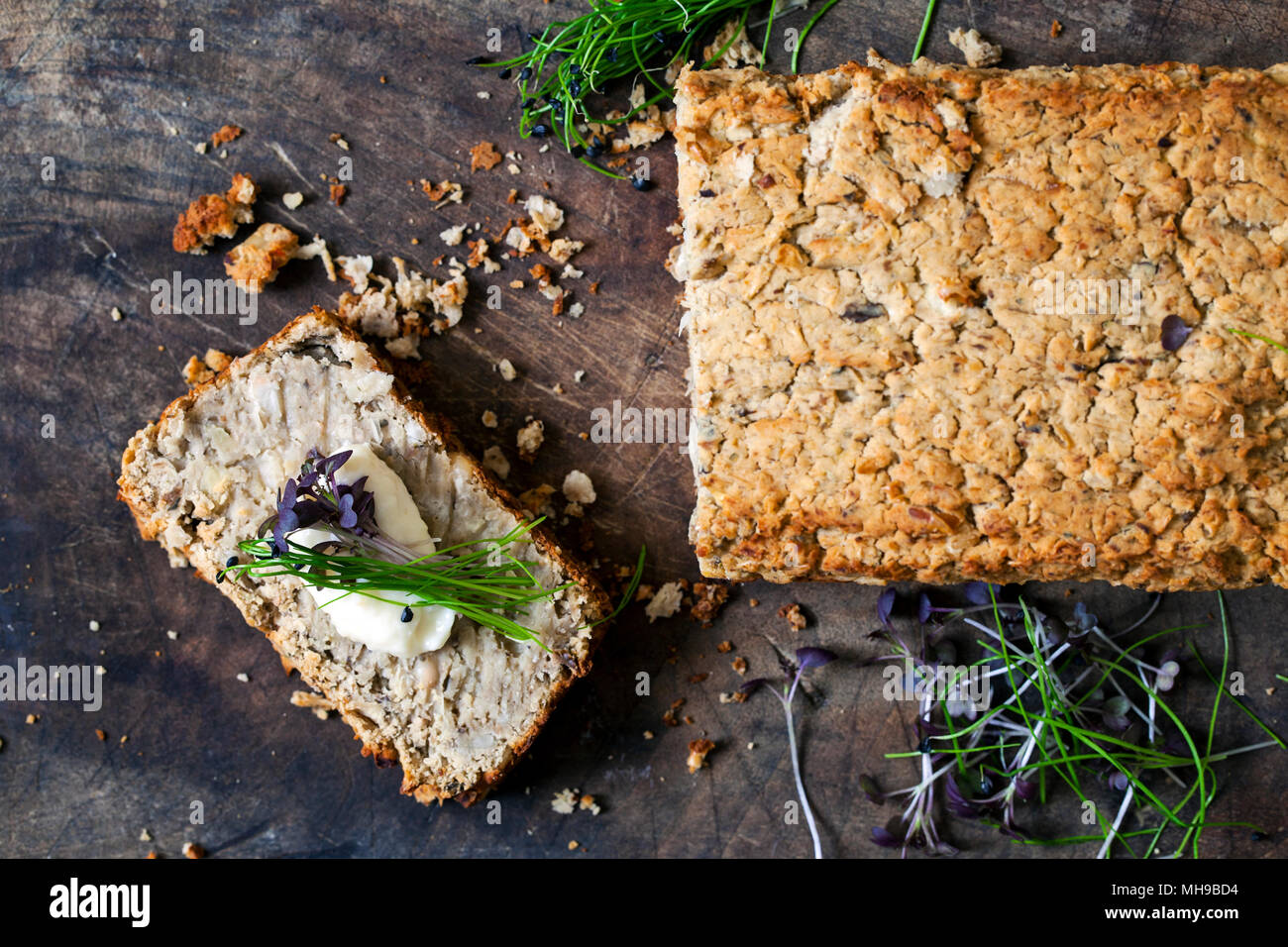 White bean vegan baked pate - Stock Image