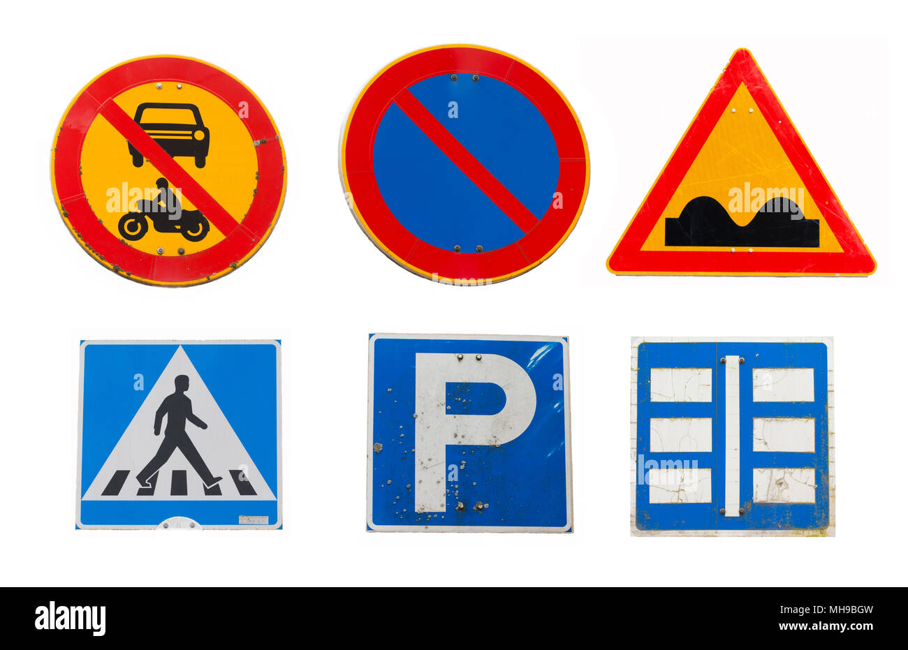 Collage of traffic road signs on white background - Stock Image