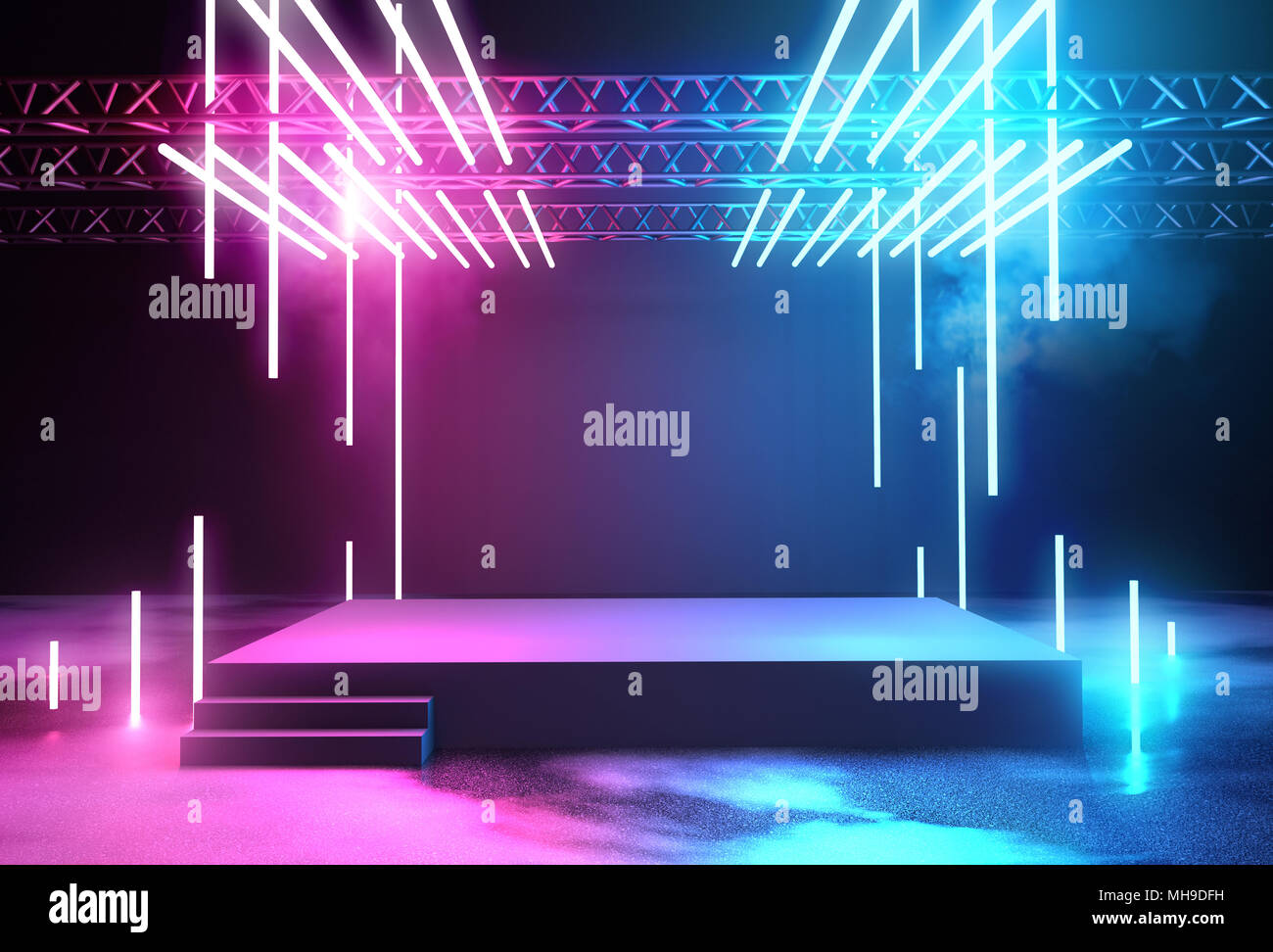 Stage With Neon Lighting Background Blank Platform For Concert Or Product Placement 3D Illustration