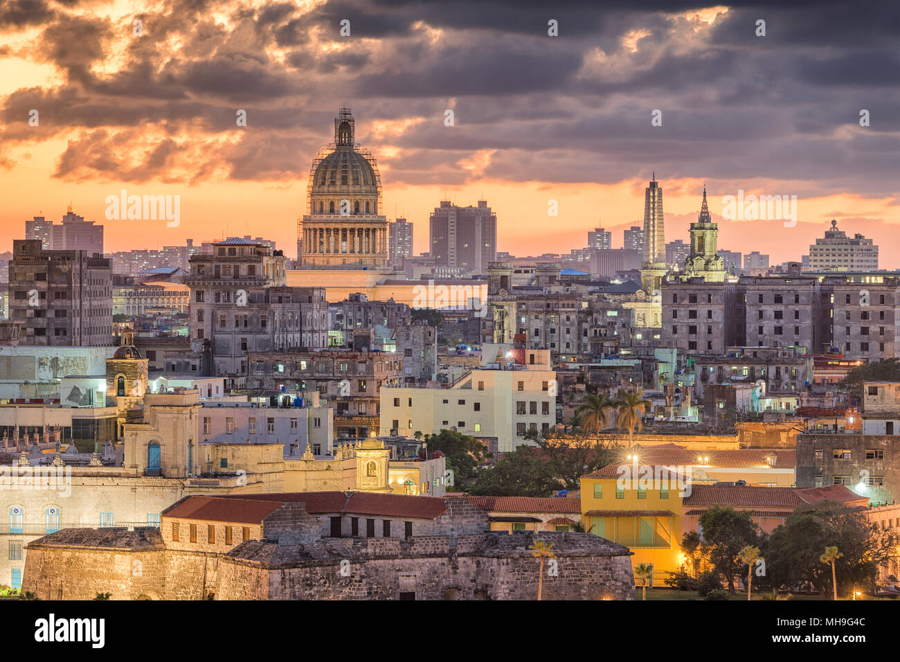 Havana, Cuba downtown skyline. - Stock Image