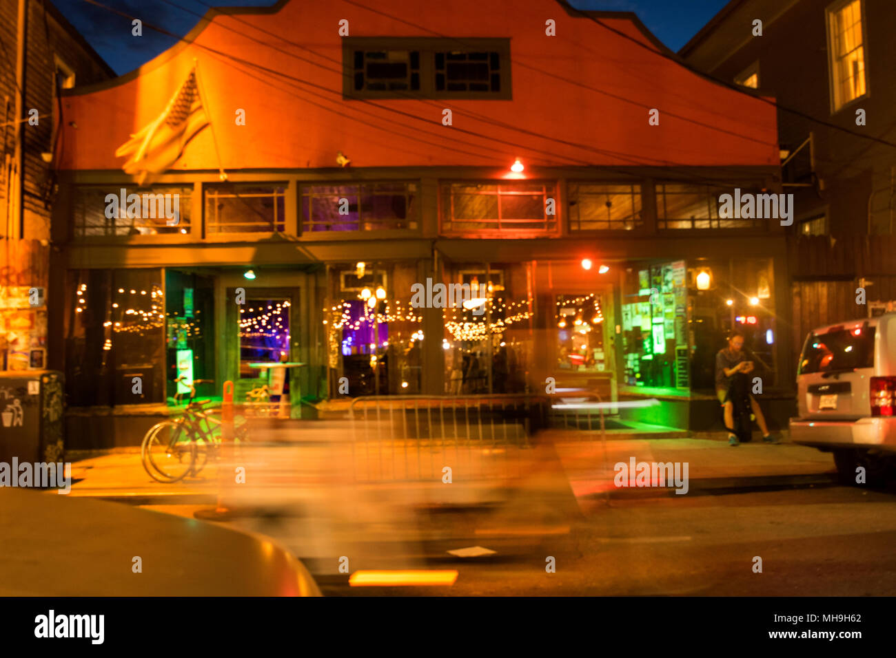 Frenchman Street, New Orleans at night. - Stock Image