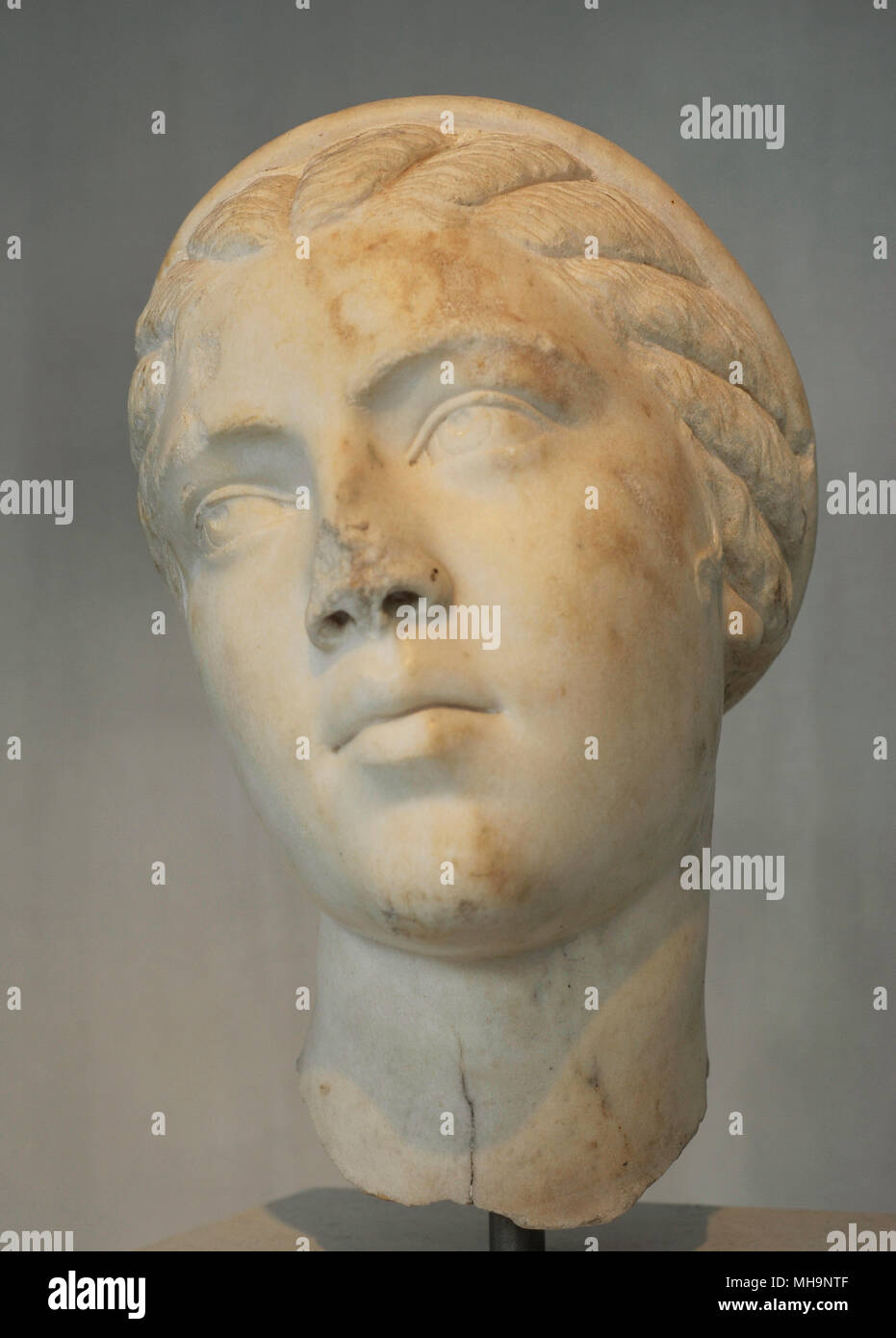 Fulvia Plautilla (c. 185-211). The only wife of the Roman emperor Caracalla. Se was exiled and eventurally killed. Portrait. Late 2nd - Early 3rd century AD. Acropolis Museum. Athens. Greece. - Stock Image