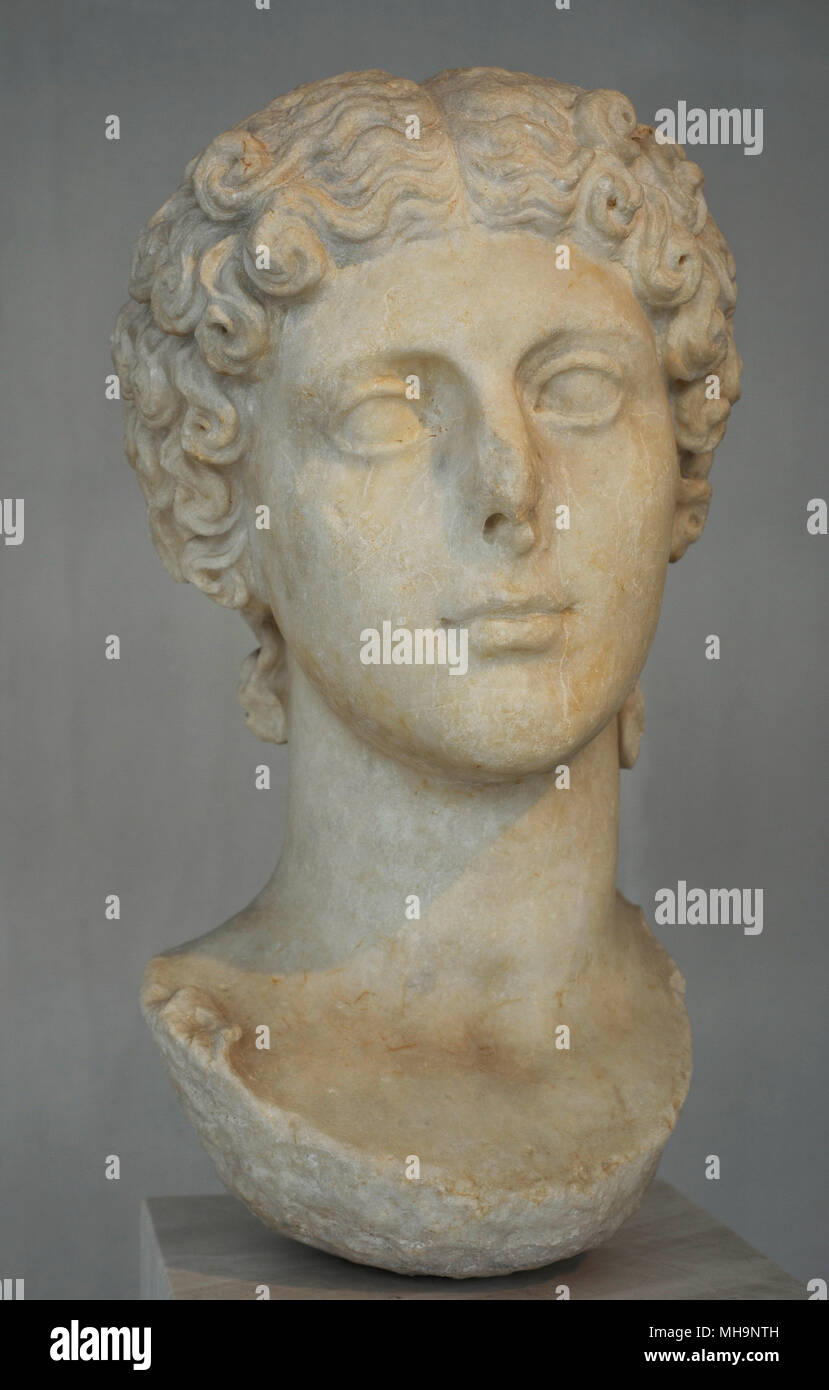 Agrippina the Younger (15 AD-59 AD). Roman empress. Julio Claudian dynasty. Sister of Caligula and wife of Claudius. Portrait. 41-54 AD. Acropolis Museum. Athens. Greece. - Stock Image
