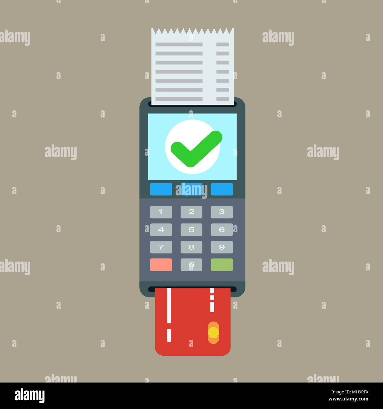 POS terminal and receipt vector icon. Credit card processing Stock Vector
