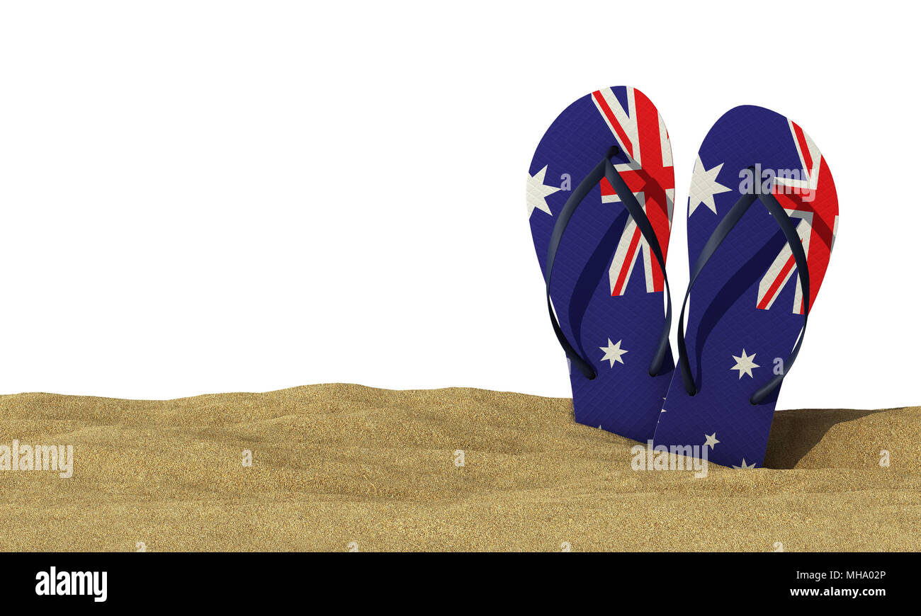 dd95942227452d Australia flag flip flop sandals on a white background. 3D Rendering -  Stock Image