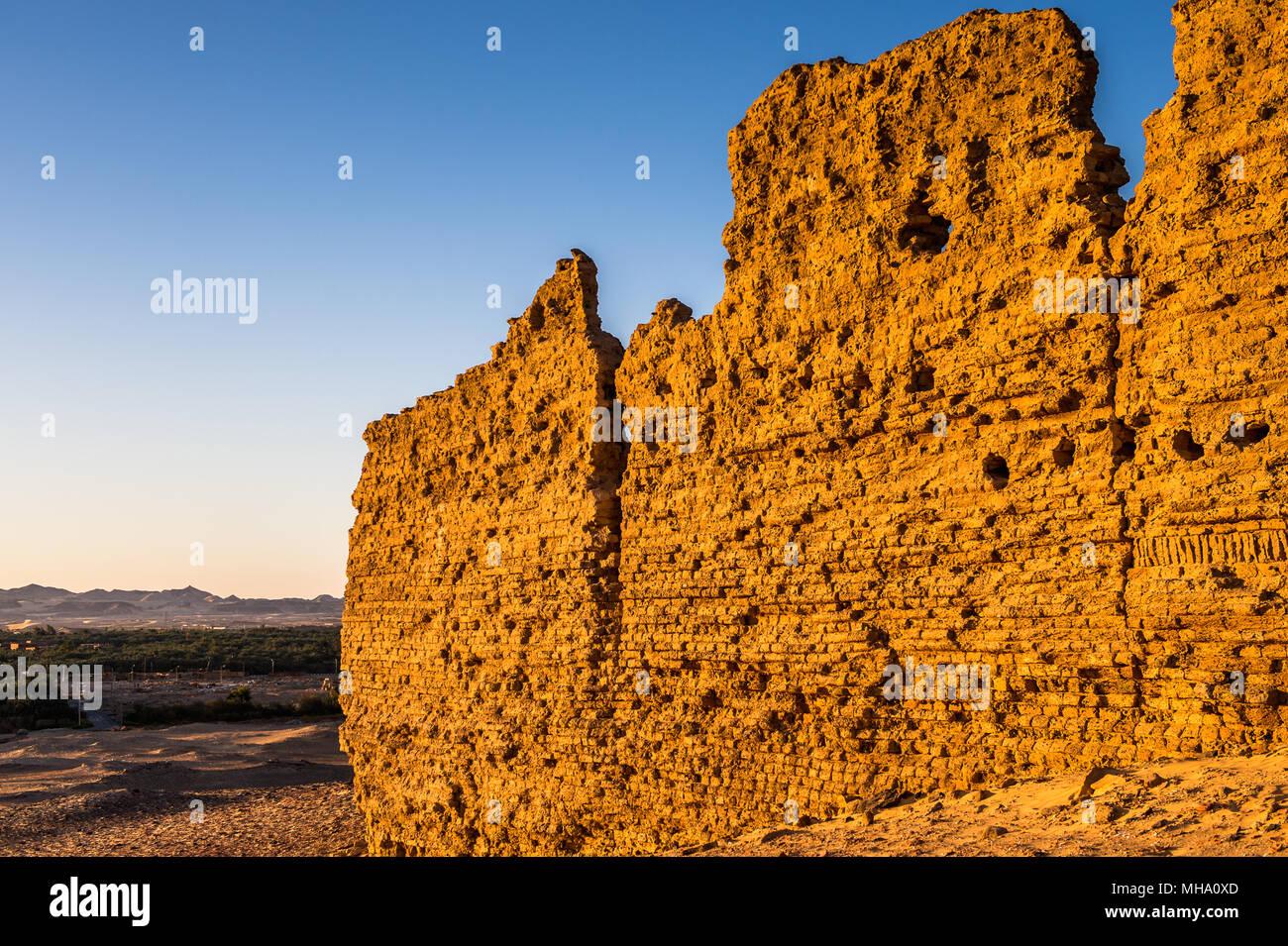 Ruins of the Nadora Temple in the Kharga Desert of Egypt Stock Photo