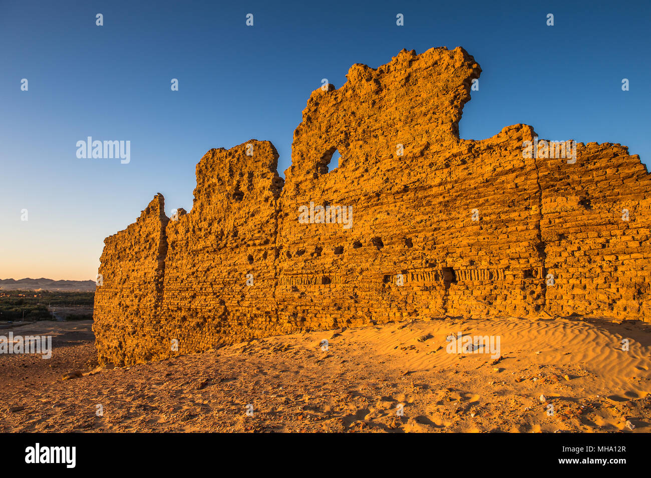 Ruins of the Nadora Temple in the Kharga Desert of Egypt Stock Photo