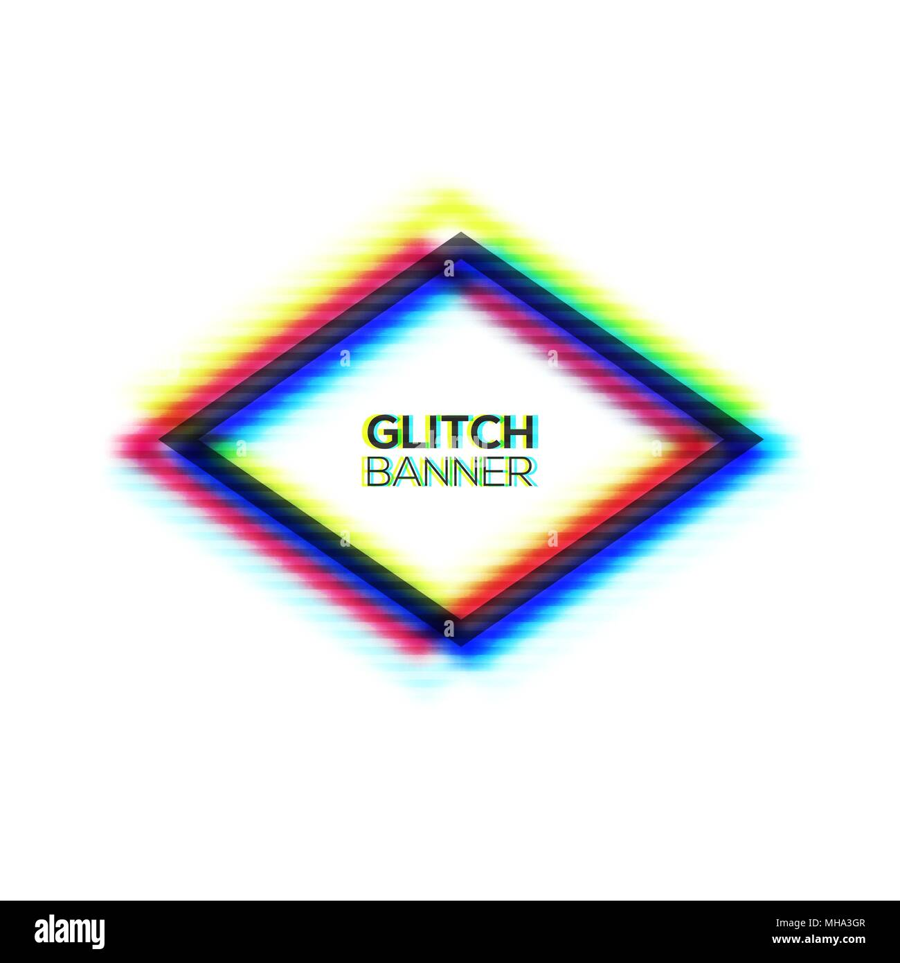 Abstract glitch texture polygon frame. Geometric style art ...