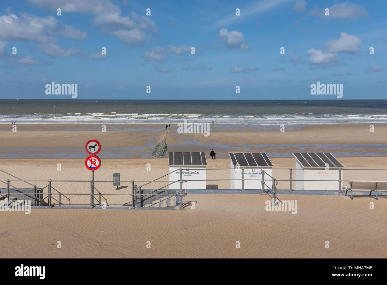 View from Casino building down onto beach of Oostende in Belgium - Stock Image