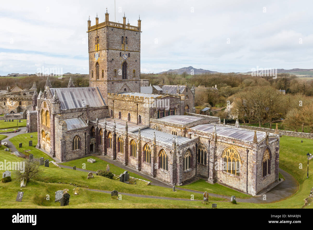 St David's Cathedral, in St Davids, Pembrokeshire. The smallest city in the UK.. Stock Photo