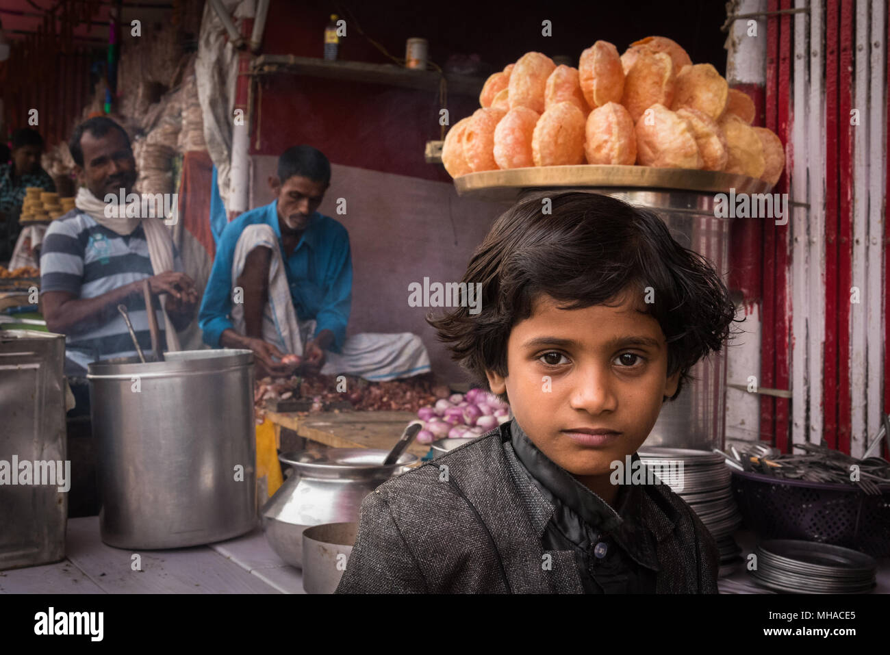 Portrait of a young boy at the Sonepur Mela, Sonepur, India. - Stock Image