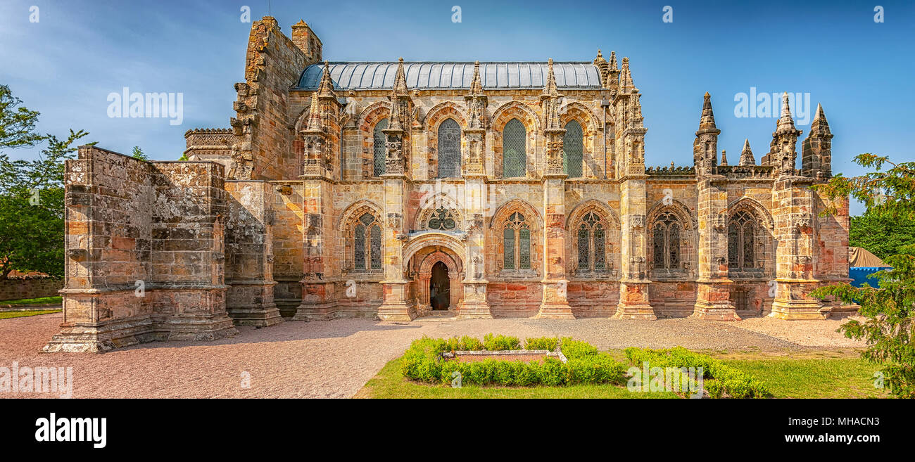 The 15th century Rosslyn Chapel situated in Scotland and made famous by the book, The Da Vinci Code. - Stock Image