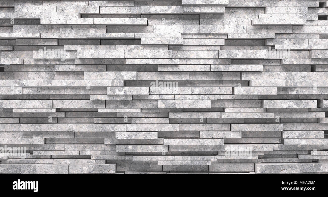 Realistic Stone Decorated Material Wall Closeup 3d Rendering - Stock Image